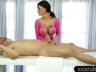 Huge natural boobs masseuse gets pounded by her pervert client