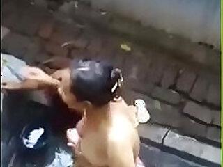 Desi muslim aunties bathing captured by their nephew