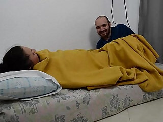 She is sleeping and he wakes her up by rubbing her pussy  IV