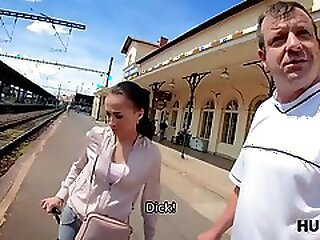 Elegant coquette makes money for train using her sexy hot body
