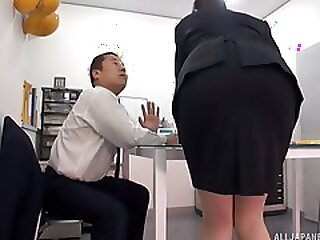 Hot Japanese girl licked under the table during an earthquake