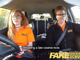 Fake Driving School Nerdy ginger teen pussy fucked to creampie orgasm