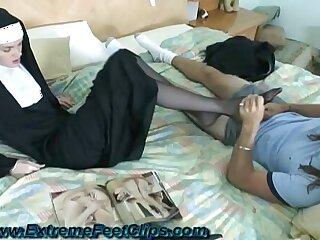Nun giving Footjob
