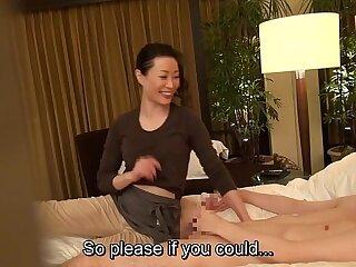 Subtitled cfnm Japanese milf massage therapist seduction in HD